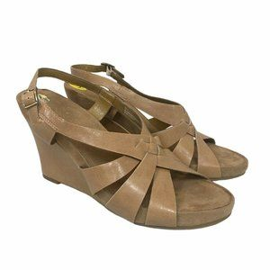 Aerosoles Plushover Faux Leather Wedge Sandals 9